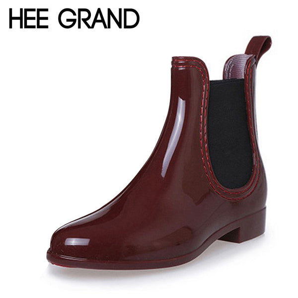 New Best Seller HEE GRAND Rain Pointed Toe Women Rubber Boots Slip On Ankle Casual Platform Rainboots Shoes