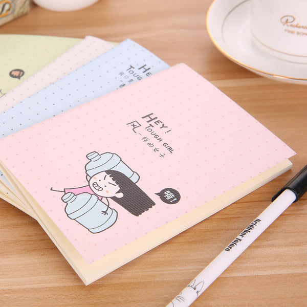 3Pcs/lot Random Woman man Notepad Cartoon Notebook Journal Diary Memo Writing Pad Stationery Office School Supplies 0532