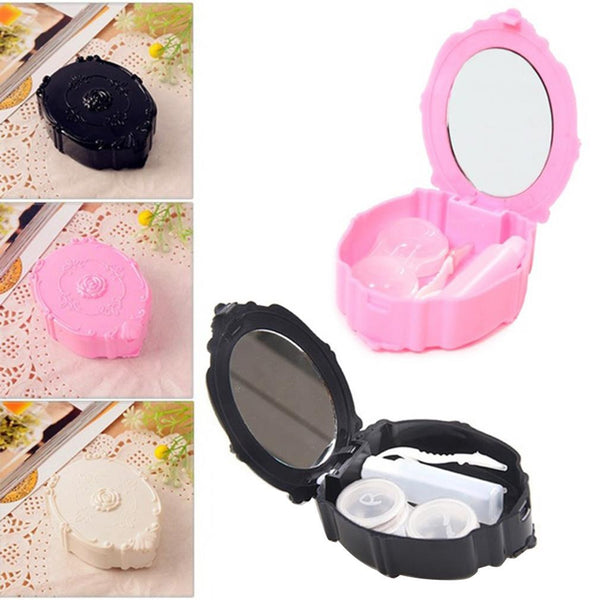 Mini European Retro Style Rose Flower Contact Lenses Contact Lens Case Box With Small Bottle Lens Holder Hot Search