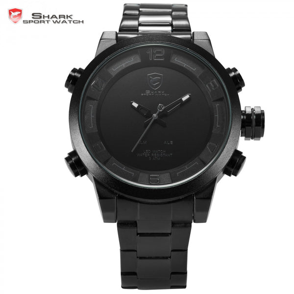 2017 New Fashion Digital Gulper Shark Sport Water Resistant Dual Movement LED Calendar Alarm Quartz Men's Military Watches