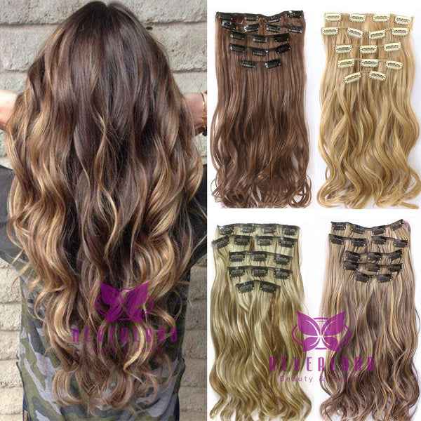 New Fashion 7pcsset Clip In Hair Extension 22inch Long Curly Wavy