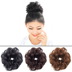 New Arrival Wavy Curly Synthetic Bun Cover Hairpiece Clip in Scrunchie Hair Extensions for Ladies Free Shipping