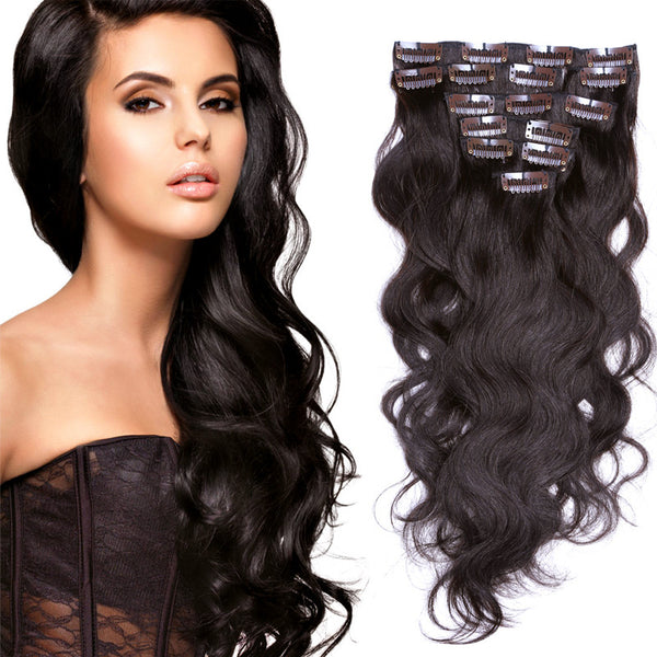 New Arrival 8A Grade Wavy America Remy Hair Double Weft Full Head Clip in Human Hair Extensions 200g&7pcs Free Shipping