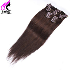 2017 Hot Sale Brazilian Virgin Hair Straight 2 Dark Brown Human Hair Clip In Extensions Remy Clip Ins Brazilian Straight
