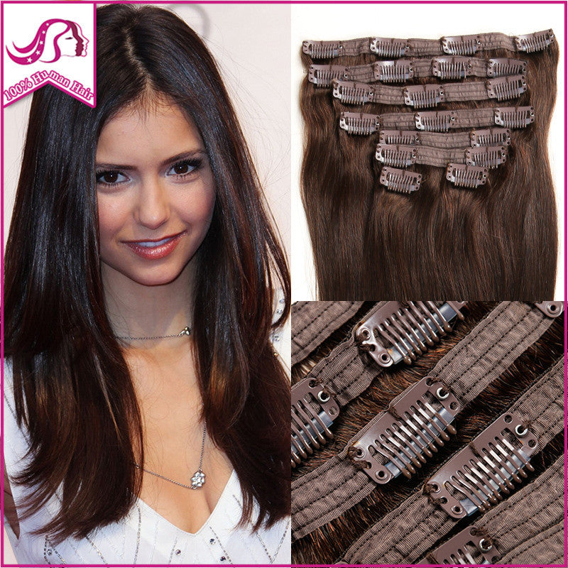 New Fashion Clip In Remy Human Hair Extensions Full Head Virgin