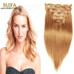 Fashion Blonde Clip In Hair Extensions 7 8 10 Pcs 7A Remy Clip In Human Hair 100-220G 100% Real Clip In Human Hair Extensions