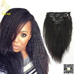 New Arrival Kinky Straight Brazilian Virgin Human Hair Clips In Extension #1b #1 #2 #4 #8 In Stock Clip Ins 2017
