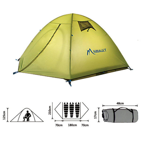 Outdoor Hiking Tent Waterproof Double Layer Camping Tent 3 Person Large Family Tents Garden Beach Use