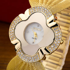 2017 New Fashion Gold Bracelet Watch for Women Quartz Wristwatch Ladies Dress Watches
