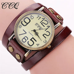 New Top Trending CCQ Luxury Brand Vintage Cow Leather Bracelet Dress Quartz Watch for Ladies