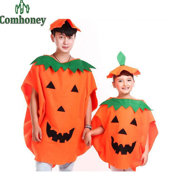 2016 Halloween Costume Family Look Pumpkin Cosplay Party Cloak Cape+Hat+Handbag Set Father Mother Daughter Matching Outfit Clothes