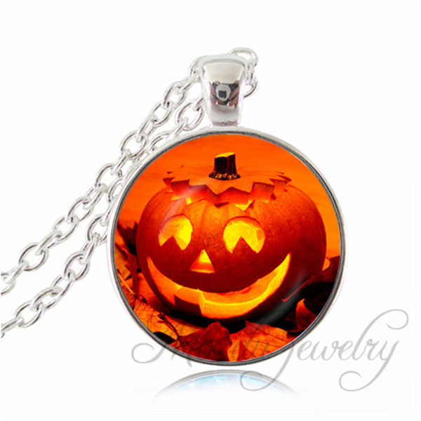 Halloween 2016 Gifts Pumpkin Jack-o-Lantern Glass Dome Fall Autumn Pumpkin Glass Tile Pendant Necklace