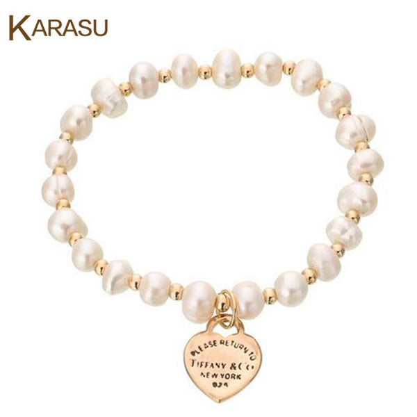 New Fashion Jewelry Gold Plated Simulated Pearl Beads Bracelet & Bangles Love Heart Charm Bracelets for Women Christmas Gifts