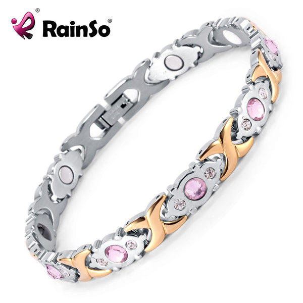 2016 Rainso Crystal Gem Woman Bracelet Stainless Steel Health Energy Magnetic Gold Fashion Jewelry Lady Bracelets Gift for Girls