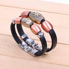 2 Pieces Copper Rudder Anchor Love Matching Bracelets For Couples Multilayer Cuff Bracelets Pulseira Homens Masculina Couro
