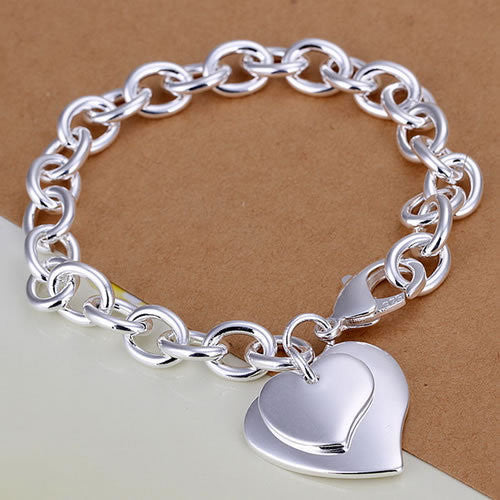 H279 Silver Bracelet Fashion Jewelry Bracelet The double heart cards shrimp buckle bracelet dragon bijoux