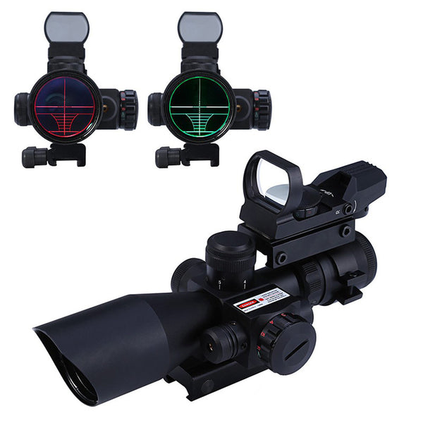 Outdoor Hunting 2.5 - 10X40 Tactical Optics Holographic Riflescope Red / Green Laser Dual Illuminated Scope 20mm Rail Mount