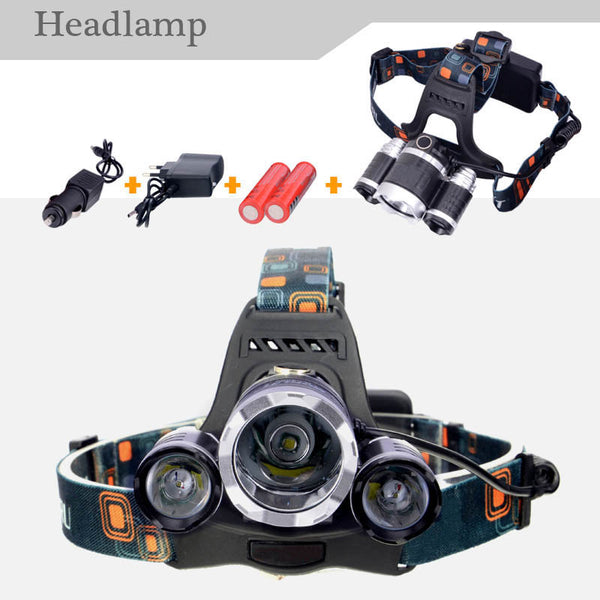 RJ3000 6000LM CREE XML T6+2R5 3LED Headlight,Fishing Light+18650 battery+Car EU/US/AU/UK Plug Charger