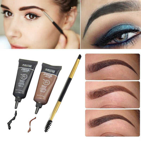 2Pcs Brand Makeup Eyebrow Enhancer Tint My Eyebrows Gel Semi-permanent Waterproof Henna Tattoo Eyebrow Gel Makeup Set