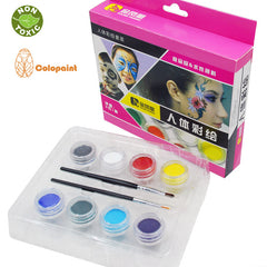 Face & Body Food Grade Painting Colors, 8 Vibrant Colors Non Toxic Paint 8 with Brushes