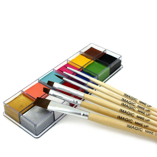 12 Flash Tattoo Color+6pcs Paint Brush Halloween Face Body Paint Oil Painting Art Cosmetic Make Up Set Tools Party Fancy Dress