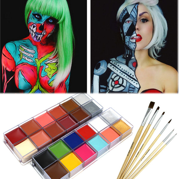 halloween props 12 color pigment  with  brush masquerade body painting paint theater clown face paint body paint pigments  lot