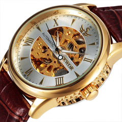 2017 New Arrival SEWOR Skeleton Mechanical Gold Leather Strap Brand Clock Luxury Brand Automatic Relogio Wristwatch for Men