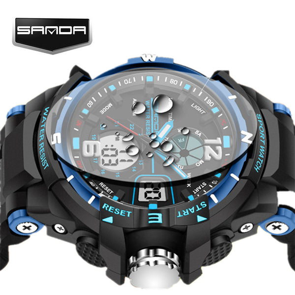 2017 New SANDA G Style Waterproof LED Sports Military Shock Analog Quartz Digital Watch for Men