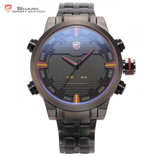 2017 New Arrival Sawback Angel SHARK Sport Dual Time Digital LED Date Day Analog Black Red Stainless Steel Strap Men Quartz Watche