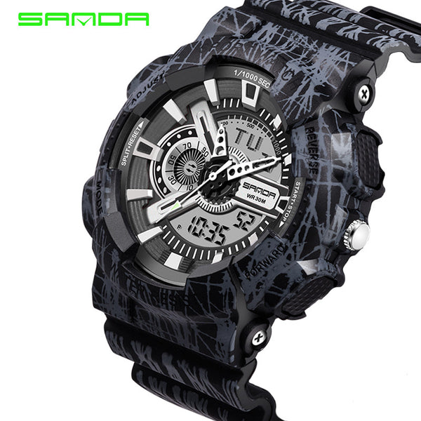 New Hot Sale Large Dial Digital Sports Hours Military LED SANDA Wristwatches for Men