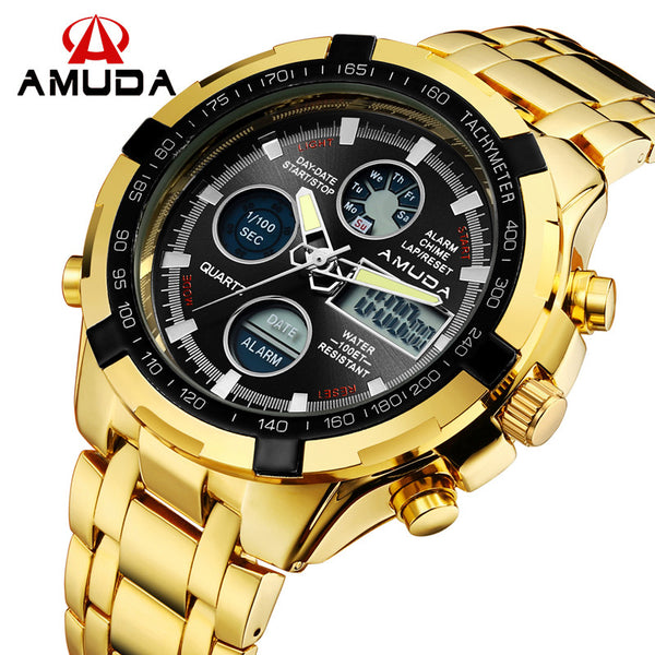 New Hot Sale AMUDA Brand Gold LED Display Calendar Quartz Wrist Military Digital Watch for Men