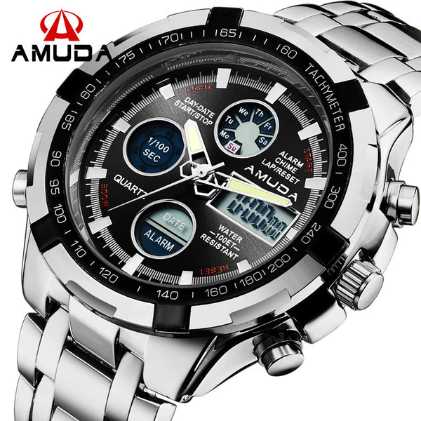 New Hot Sale AMUDA Men Army Military Quartz LED Digital Clock Full Steel Wrist Watch for Men