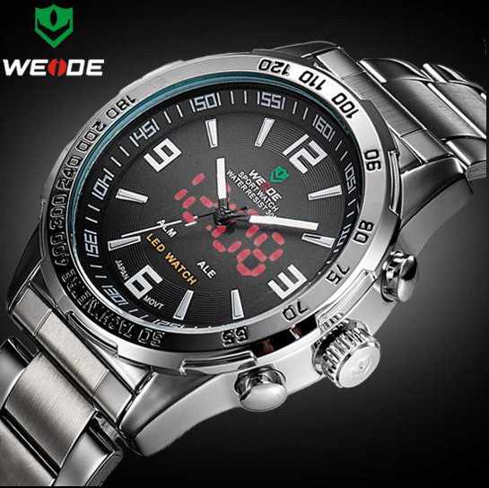 2017 New Fashion Weide Full Steel Quartz Led Digital Clock Military Sports Wristwatch for Men