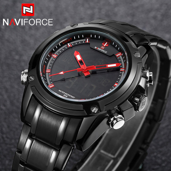 New Fashion NAVIFORCE Sport Full Steel Digital LED Army Military Mens Wristwatch
