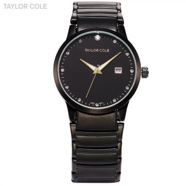 New Hot Sale Taylor Cole Lady Relogio Round Black Crystal Full Stainless Steel Strap Analog Date Function Women Quartz Dress Watches