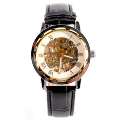 2017 New Hot Classic Business Mechanical Gold Dial Skeleton Black Leather Army Watches for Men