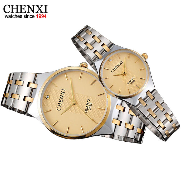 New Top Branding CHENXI Luxury Lovers Watches Waterproof Couple Watch Golden Stainless Steel Quartz Wristwatches