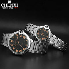 Full Steel Quartz Square Analog Watches for Lovers Retro Formal Couple Watch for Men & Women