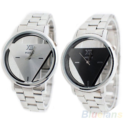 2017 Hot Sale Unisex Lover Silver Stainless Steel Triangle Dial Quartz Wristwatch for Men and Women