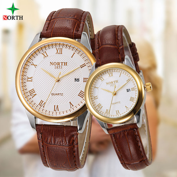 New Arrival 2 PCS/ 1 Lot Lovers Fashion Design Couple Dress Wristwatch Casual Leather Waterproof Sports Watch for Men and Women