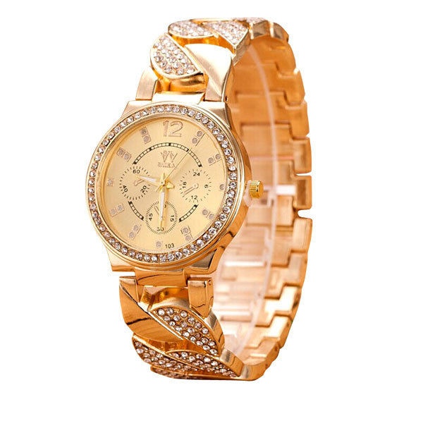 2017 New Hot Sale JECKSION Casual Luxury Brand Quartz Gold Rhinestones Watches for Women