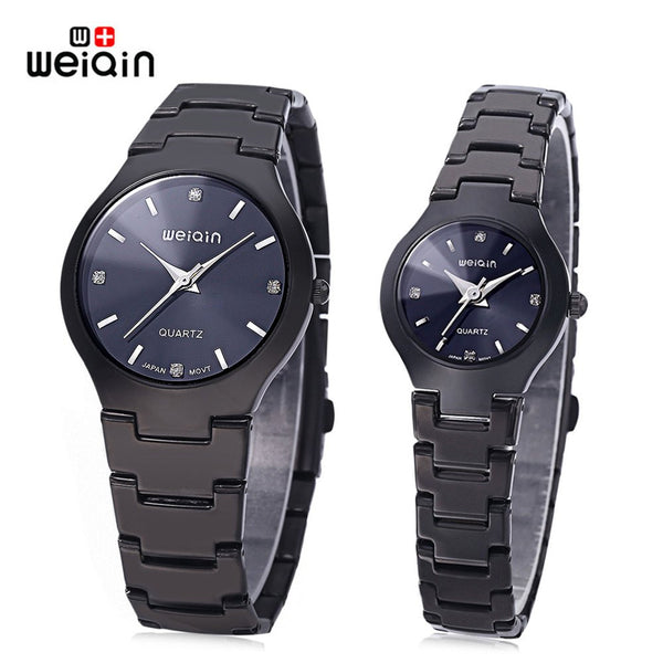 New Arrival Stainless Steel Craftsmanship WeiQin Couple Quartz Artificial Diamond Dial Hardlex Mirror Wristwatches
