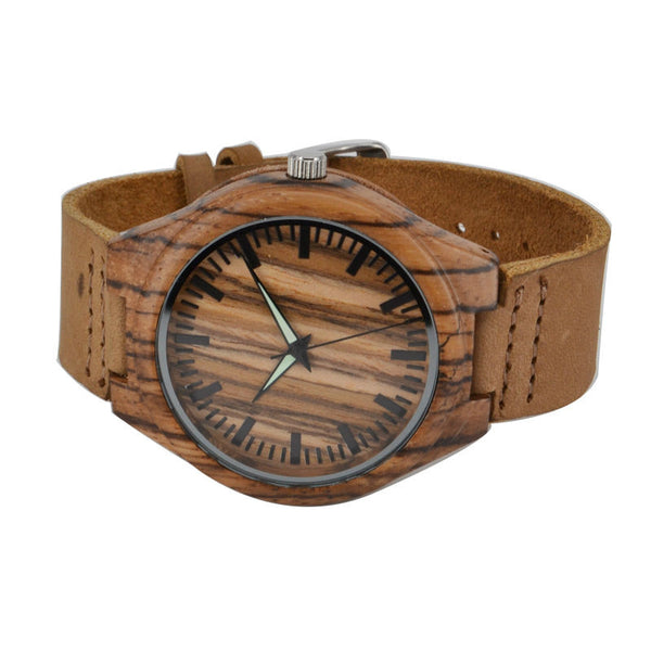 New Arrival Genuine Leather Bamboo Quarz Wooden Bracelet Creative Watches for Men and Women