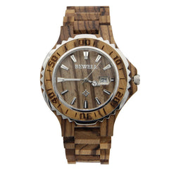 New Fashion Bewell Japan Quartz Wood Business Calendar Clock Relogio Masculino Dress Watches for Men and Women