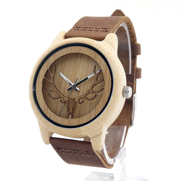 2017 New Hot Sale Deer Head Wood Leather Strap Analog Quartz Wristwatch for Men and Women