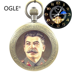 2017 Best Seller Ogle Waterproof Russian Federation Stalin Tourbillon Moon Phase Automatic Mechanical Necklace Pocket Watch Fob Chain