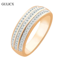 GULICX Brand New Luxury Three Row Women Size 8 Band 18K Gold Platinum Plated Finger Ring Crystal CZ Zircon Wedding Jewelry R261