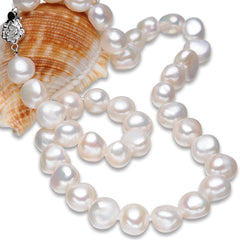 FEIGE Genuine Baroque Style Pearl Necklace for Women 10-11mm White Natural Freshwater Pearls Chokers Necklaces Fine Jewelry
