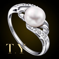 Natural White Freshwater Pearl Engagement Ring Real 8mm Pearl 925 Sterling Silver White Gold Plated Wedding Anniversary Ring