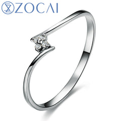 ZOCAI BRAND 100% NATURAL GENUINE DIAMOND RING 0.02 CT DIAMOND 18K WHITE GOLD W02442